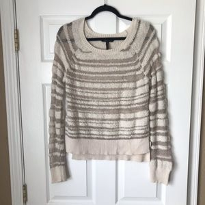 BCBGMAXAZARIA striped open knit high low sweater